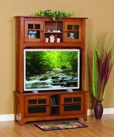 Amish Mission Laurel Cove Entertainment Center Amish Mission Laurel Cove Entertainment Center. Available in two sizes and nine different wood types. Amish made in Ohio. #DutchCrafters