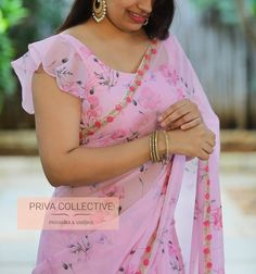 <br> Price : Rs <br> Bring home this beautiful baby pink floral georgette sari finished with PV 4256 : Baby pink floral. <br> Price : Rs <br> Bring home this beautiful baby pink floral georgette sari finished with New Saree Blouse Designs, Simple Blouse Designs, Stylish Blouse Design, Bridal Blouse Designs, Blouse Styles, Neck Designs For Blouse, Latest Blouse Patterns, Latest Blouse Neck Designs, Designer Blouse Patterns