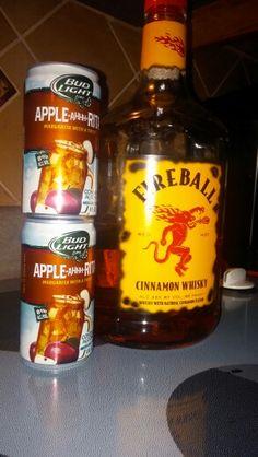 1 can applerita + 1 shot fireball whiskey  = Amazing. Liquid (and spiked) Apple Pie. Yum