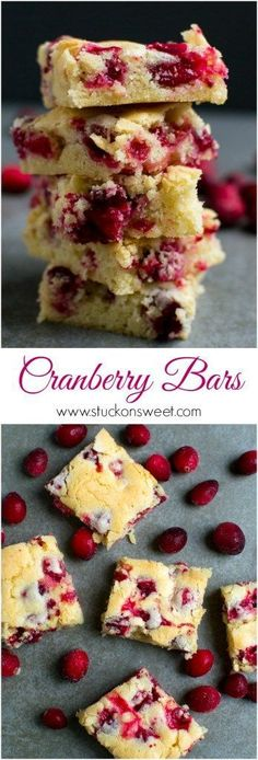 Cranberry Bars - this dessert recipe is simple and delicious. It can be easily adapted and it's perfect for the holidays! | http://www.stuckonsweet.com