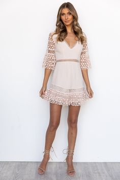 Arlo Dress - Beige Lace Dress, Strapless Dress, White Dress, Mini Dress With Sleeves, Half Sleeves, Semi Formal Dresses, Womens Fashion Stores, Online Fashion Boutique, Fashion Dresses