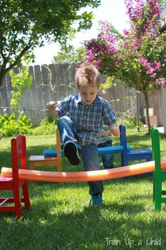 Train Up a Child: Pool Noodle Backyard Obstacle Course