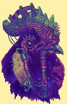 T-shirt graphic of an extraterrestrial rooster.