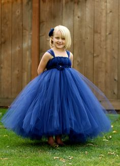 Navy Blue Flower Girl Tutu Dress  - NB thru 18months