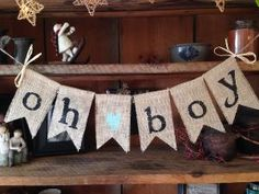 Burlap Baby Bunting, Baby Shower Decoration, Baby Boy Bunting, Baby Bunting, Pregnancy Photo Prop,  Rustic Bunting, Oh Boy by Thirty Six Design