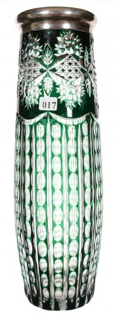 """15"""" UNMARKED VAL ST. LAMBERT ART GLASS VASE; EMERALD GREEN CUT TO CLEAR - VERTICAL THUMBPRINT COLUMNS WITH DIAMOND AND FLORAL HIGHLIGHTS - STERLING RIM / SOLD $450"""