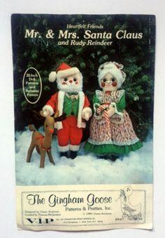 Mr Mrs Santa Claus Doll Rudy Reindeer Christmas Craft Sewing Pattern Gingham Goose Vintage