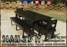 8 Seater Dining room table with 3 seater benches and 2 single seater backrest chairs. Gloss black finish. Suitable for indoor and outdoor use. Affordable, custom built, pallet wood furniture. Designed by you, built by us. For more info, contact 0834376919 or naileditpallets@gmail.com. #diningtable #diningtables #diningroomtable #diningroomfurniture #pallettable #palletdiningtable #palletwooddiningtable #outdoorfurniture #patiofurniture #nailedpalletfurnituredurban…