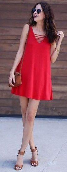 #summer #beach #outfits | Red Shift Dress