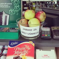 Free apples for smile - good idea to improve mood of customers. Found on gas-station.