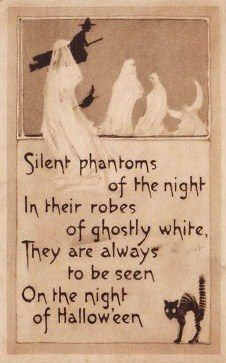 Sepia Ghost Witch Black Cat Crescent Moon Postcard - Have a witch of a Halloween! Are you the good witch? Happy Halloween, Halloween Poems, Vintage Halloween Cards, Samhain Halloween, Fete Halloween, Halloween Pictures, Halloween Signs, Holidays Halloween, Spooky Halloween