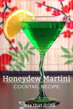 The Honeydew Martini drink recipe features Midori with vodka and triple sec. The taste of this delicious, beautiful cocktail is equal parts honeydew and orange, with a very strong kick from 3 ounces of vodka. (mixed alcoholic drinks triple sec) Vodka Drinks, Bar Drinks, Cocktail Drinks, Cocktail Recipes, Alcoholic Drinks, Martini Recipes, Drink Recipes, Cocktail Ideas, Fun Cocktails