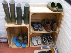 Wooden crates used as a shoe rack