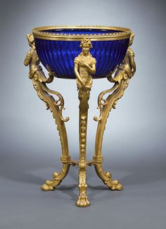 Antique Deep Cobalt Glass Center Bowl Mounted In An Ormolu Stand    c.1880
