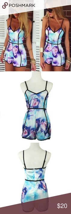 Pastel Floral Print Romper Material: Cotton, Polyester  Back Zipper  True to size LuxuryFAB Shorts