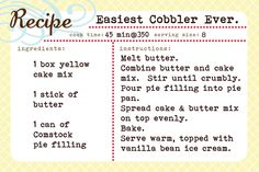 This is my go to dessert. I seem to always keep the ingredients in my pantry (pie filling always goes on sale this time of year and I...