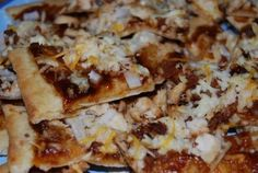 BBQ Chicken Pizza- my favorite pizza with chicken, green peppers, red onions, and button mushrooms, kraft philadelphia triple cheddar cheese and bull's eye bbq sauce (recipe on back on cheese package)  MUST TRY!!! Your famiy and friends will just die for more
