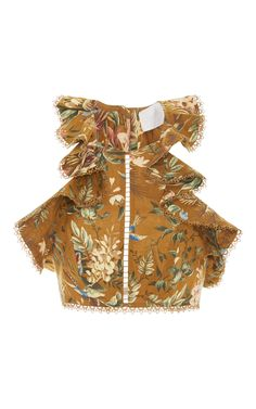 Tropical Floral Flutter Crop Top by ZIMMERMANN Now Available on Moda Operandi