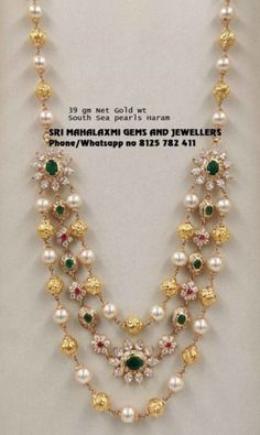Jewelry OFF! 3 rows Pure south sea pearls chain made in 39 gm Net Gold wt. Visit us for full range Pearl Necklace Designs, Jewelry Design Earrings, Gold Earrings Designs, Bead Jewellery, Pearl Jewelry, Jewelry Sets, Gold Haram Designs, Simple Necklace Designs, Beaded Jewelry
