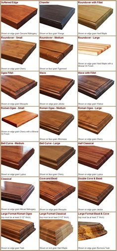 70861394111177260 Edge Styles available for solid wood countertops, kitchen island tops, and butcher block countertops.png For bar top? Solid Wood Countertops, Butcher Block Countertops, Kitchen Countertops, Butcher Blocks, Kitchen Cabinets, Wood Counter Tops Kitchen, Counter Top Edges, Butcher Block Island, Countertop Decor