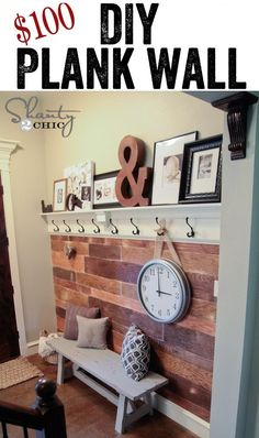 100dollar DIY Plank Wall Makeover - This would look good on the wall just inside our front door...