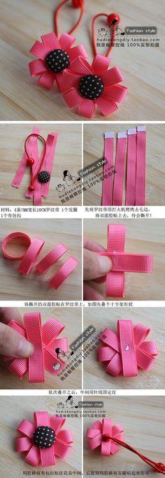 Super baby diy accessories how to make Ideas Diy Ribbon, Ribbon Work, Ribbon Crafts, Flower Crafts, Ribbon Flower, Flower Hair, Diy Crafts, Hair Ribbons, Diy Hair Bows