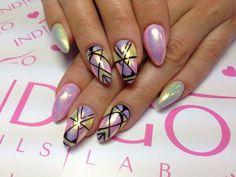 Superwomen, Lavender, Banana Cocktail Gel Brush  + efekt syrenki + Paint Gel by Monia z Madeleine Studio  :) Explore new Nail Trends at www.indigo-nails.com #nailart #nails #indigo #mermaid #effect #pastel #wow