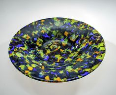 Blue and Green Lava Bowl by Varda Avnisan: Art Glass Bowl available at www.artfulhome.com Carefully chosen colors are fired to high temperature to a melting point to create an organic flow of the glass. Cold-worked and sandblasted. Slumped into a textured custom form.