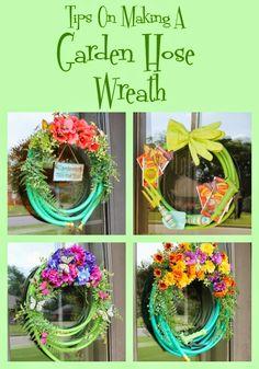 Tips For Making A Garden Hose Wreath basteln Wreath Crafts, Diy Wreath, Wreath Ideas, Tulle Wreath, Burlap Wreaths, Wreaths For Front Door, Mesh Wreaths, Mesh Garland, Yarn Wreaths