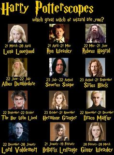 So much better than the real horoscope signs... And I'm Snape! :)