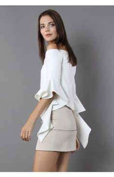 Ethereal Frilling Off-shoulder Top in White - Tops - Retro, Indie and Unique Fashion