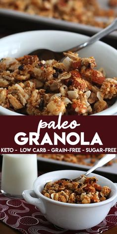 This dairy-free and grain-free granola is made extra crunchy with the deliciousness of coconut and cacao nibs. Easy to make and only net carbs per serving. snacks to sell Keto & Paleo Granola Keto Granola, Grain Free Granola, Nutty Granola Recipe, Paleo Muesli, Low Sugar Granola, Granola Cereal, Keto Desserts, Keto Snacks, Low Carb Breakfast