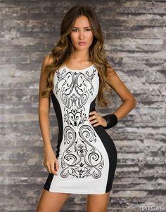 Rochie de club alb negru, rochie cocktail scurta, mulata.