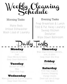 This is the easiest cleaning schedule I've found!  It separates everything into daily and weekly tasks so cleaning is never overwhelming.