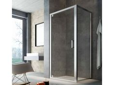 Corner glass shower cabin with hinged door SLINTA SG SH by Glass 1989