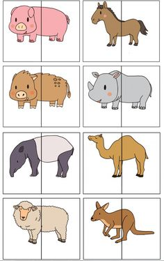 nl , animal match for preschool, free printable animals silly animals animal mashups animal printables majestic animals animals and pets funny hilarious animal Preschool Learning Activities, Animal Activities, Infant Activities, Toddler Preschool, Kids Learning, Animal Puzzle, Zoo Animals, Kids Education, Pre School
