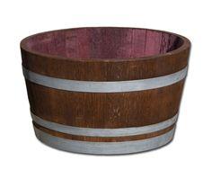 D 70 cm - Weinfass halbiert aus Eichenholz, palisanderfarben lasiert mit silbernen Reifen