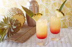 CARRIBBEAN   SURPRISE.  SERVES 2  PREP 5 MINS 211 CALORIES 211 SERVING. INGREDIENTS 65ml ( 2 1/2 fl oz)vodka chilled 1 lime squeezed 200ml (1/3 pint) pineapple juice,chilled 50ml ( 2 fl oz ) grenadine 2 fresh pineapple slices