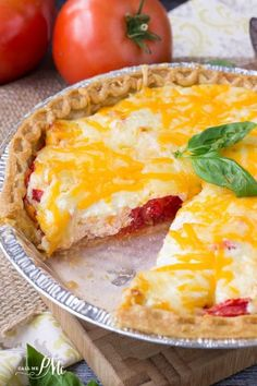 Easy Tomato Pie recipe with store-bought crust, great side or, for me, dinner!