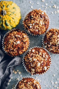 French Delicacies Essentials - Some Uncomplicated Strategies For Newbies Oatmeal Pumpkin Muffins - Hello Veggie Vegan Pumpkin, Healthy Pumpkin, Pumpkin Recipes, Fall Recipes, Pumpkin Oatmeal Muffins, Banana Oat Muffins, Healthy Foods To Make, Healthy Treats, Healthy Eating