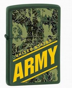 """Zippo U.S. Army Lighter U.S. Army Lighter by Zippo  When you think of a quality lighter brand what is the first name brand that comes to mind? ZIPPO! This genuine Zippo lighter features an army matte green finish with camouflage and the U.S. Army emblem on the front. Each lighter measures 1-1/2"""" x 2-1/4"""" x 1/2"""". Gift boxed."""