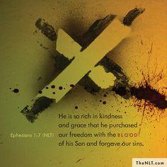 Ephesians 1:7 (NLT) Ephesians 1, We Are All One, New Living Translation, Abundant Life, New Testament, Timeline Photos, Christian Faith, Forgiveness, Freedom
