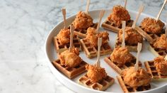 Mini Chicken and Waffles Skewers