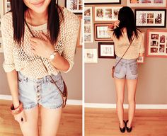 high waisted shorts and crochet shirts <3