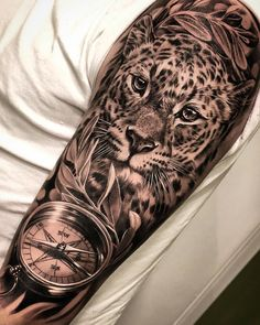 A imagem pode conter: 1 pessoa Animal Sleeve Tattoo, Lion Tattoo Sleeves, Animal Tattoos, Tattoos For Women Half Sleeve, Best Sleeve Tattoos, Tattoo Sleeve Designs, Snow Leopard Tattoo, Cheetah Tattoo, Badass Tattoos