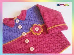 Häkelanleitung: Weste für Kleinkind (12 – 18 Monate) mit Häkelblume Pink, Crochet, Sweaters, Fashion, 18 Months, Flower Crochet, Crochet Clothes, Vest, Threading