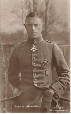 Leutnant Karl Allmenröder was a German WW1 ace. He joined the fighter force in Nov 1916 and eventually became the protege of Manfred von Richthofen, the famed Red Baron. Allmenröder scored 30 confirmed victories until June 27, 1917. The next day he was shot down and killed near Zillebeke, Belgium. He was 21 years old.
