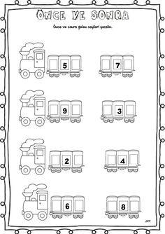 3 tane vagondan birine o gün işlediğimiz harf yapılabilir bul denilebilir Numbers Preschool, Math Numbers, Learning Numbers, Preschool Math, Fun Math, Anterior Y Posterior, John Kennedy Jr, Math Sheets, Second Grade Math