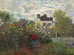 The Artist's Garden in Argenteuil. By Claude Monet, 1873. Oil on canvas. Monet was a founder of the impressionist art movement. Monet's landscape paintings, including The Artist's Garden in Argenteuil, are well known for showing the effect of light on the landscape.