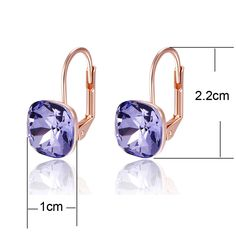 MOONROCY Doprava zdarma Módní šperky Rose Gold Barva čtvercová Purple Blue  CZ Crystal náušnice Šperky pro 5d9858d652b